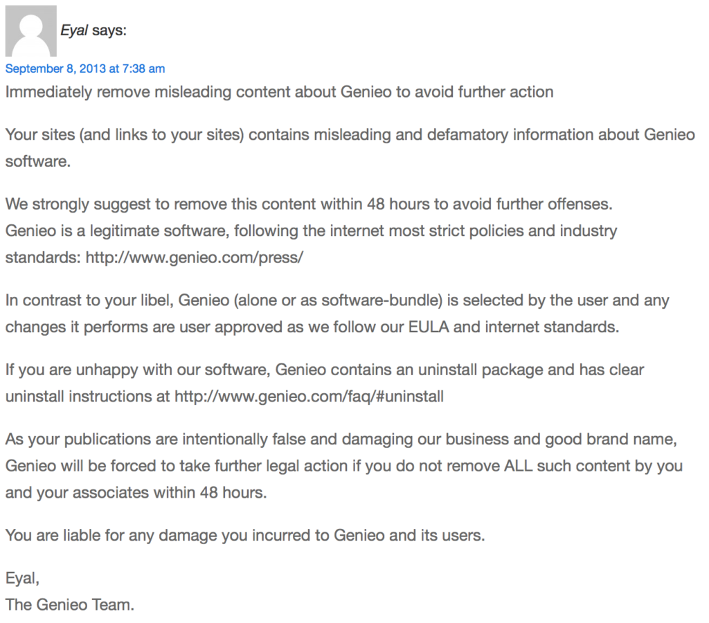 Genieo legal threat